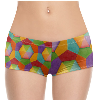 Rainbow Hexagons Hot Pants