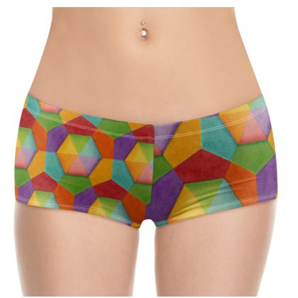 Rainbow Hexagons Hot Pants