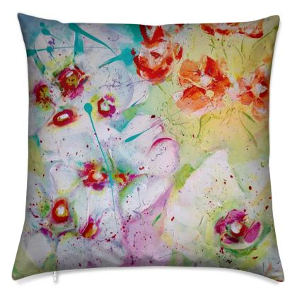 Orange Flowers Velvet Cushion