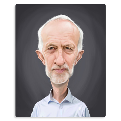 Jeremy Corbyn Celebrity Caricature Metal Print