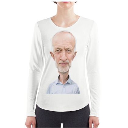Jeremy Corbyn Celebrity Caricature ladies Long Sleeve Shirt