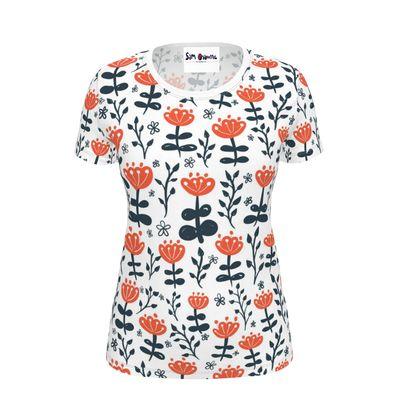 Red Blooms Ladies T-Shirt