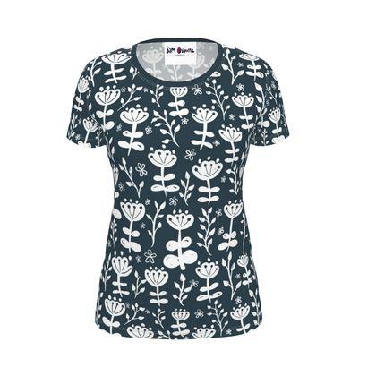 Navy Blooms Ladies T-Shirt