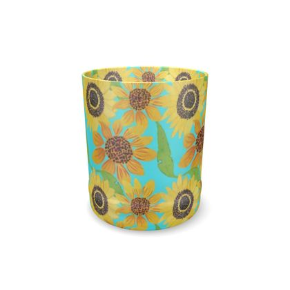 Naive Sunflowers On Turquoise Whisky Glass