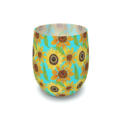 Naive Sunflowers On Turquoise Water Glass