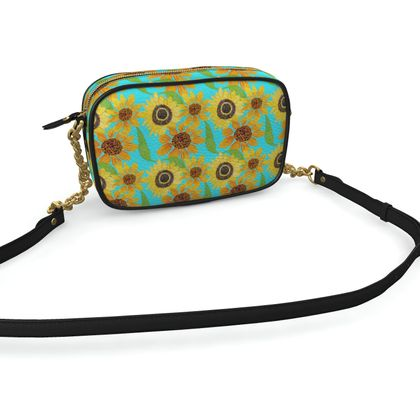 Naive Sunflowers On Turquoise Camera Bag