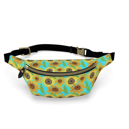 Naive Sunflowers On Turquoise Fanny Pack