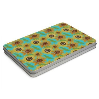 Naive Sunflowers On Turquoise Pencil Case Box