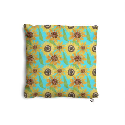 Naive Sunflowers On Turquoise Pillows Set