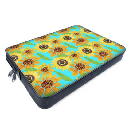 Naive Sunflowers On Turquoise Laptop Bags