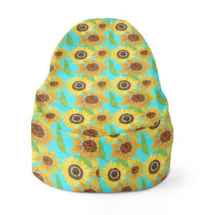 Naive Sunflowers On Turquoise Bean Bags