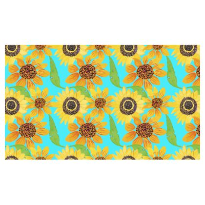 Naive Sunflowers On Turquoise Christmas Stocking