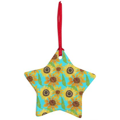 Naive Sunflowers On Turquoise Christmas Ornaments