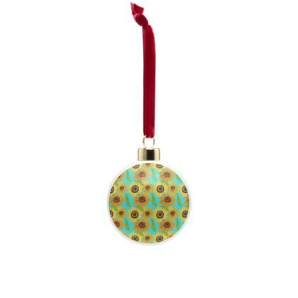 Naive Sunflowers On Turquoise Bone China Baubles