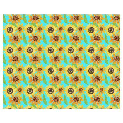 Naive Sunflowers On Turquoise Kimono