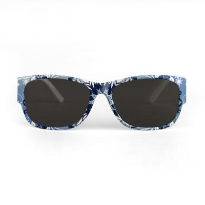 Blue and white mandala Sunglasses