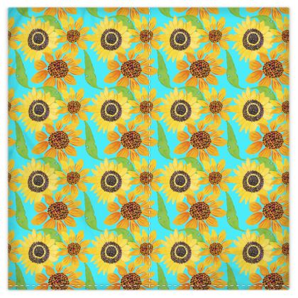 Naive Sunflowers On Turquoise