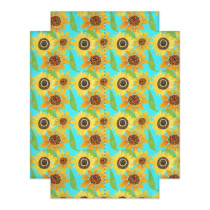 Naive Sunflowers On Turquoise Fitted Sheets