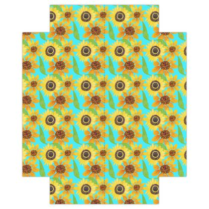 Naive Sunflowers On Turquoise Fitted Sheets USA