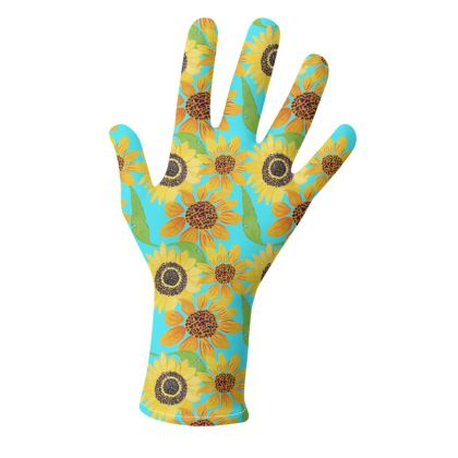 Naive Sunflowers On Turquoise Gloves