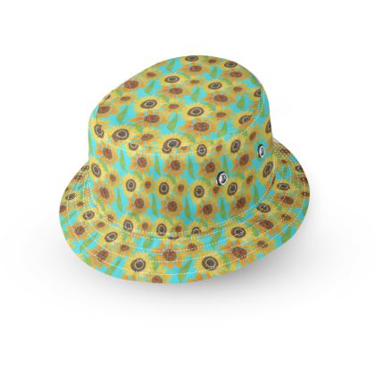Naive Sunflowers On Turquoise Bucket Hat
