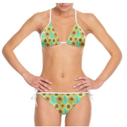 Naive Sunflowers On Turquoise  Bikini