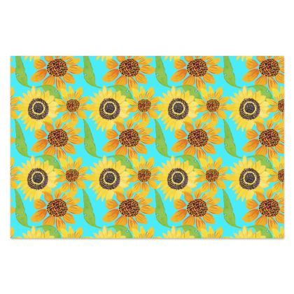 Naive Sunflowers On Turquoise Sarong