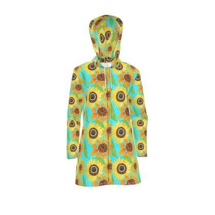 Naive Sunflowers On Turquoise Womens Hooded Rain Mac