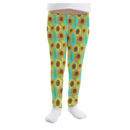 Naive Sunflowers On Turquoise Girls Leggings