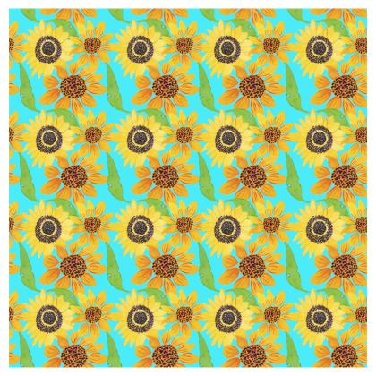 Naive Sunflowers On Turquoise Cup And Saucer