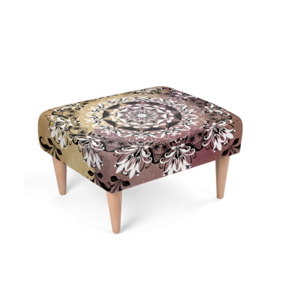Elegant Golden Mandala Footstool