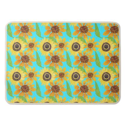 Naive Sunflowers On Turquoise Bath Mat