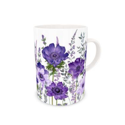 Tall Bone China Mug - The Morning Anemone Patch