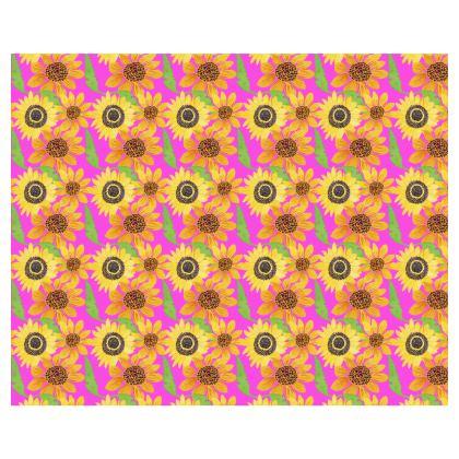 Naive Sunflowers On Fuchsia Kimono