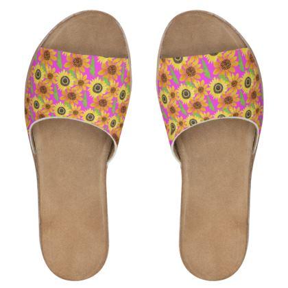 Naive Sunflowers On Fuchsia Womens Leather Sliders
