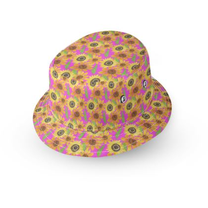 Naive Sunflowers On Fuchsia Bucket Hat