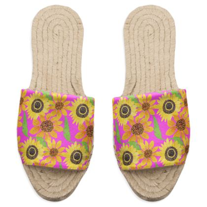 Naive Sunflowers On Fuchsia Sandal Espadrilles