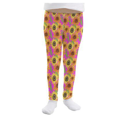 Naive Sunflowers On Fuchsia Girls Leggings