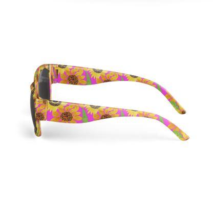 Naive Sunflowers On Fuchsia Sunglasses