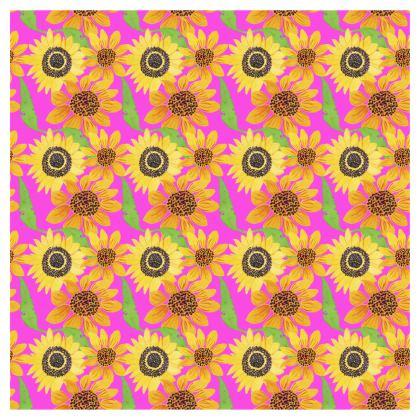 Naive Sunflowers On Fuchsia Flared Skirt