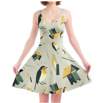 Flying Bird...house - Skater Dress