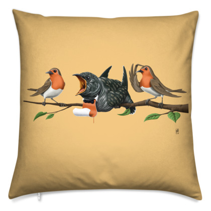 Cock Robin ~ Colour Animal Behaviour Cushion