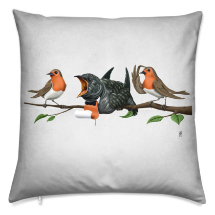 Cock Robin ~ Wordless Animal Behaviour Cushion
