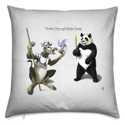Donkey Xote and Sancho Panda ~ Title Animal Behaviour Cushion