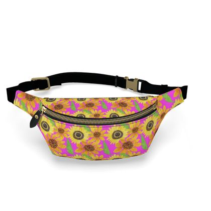 Naive Sunflowers On Fuchsia Fanny Pack