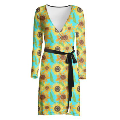 Naive Sunflowers On Turquoise Wrap Dress