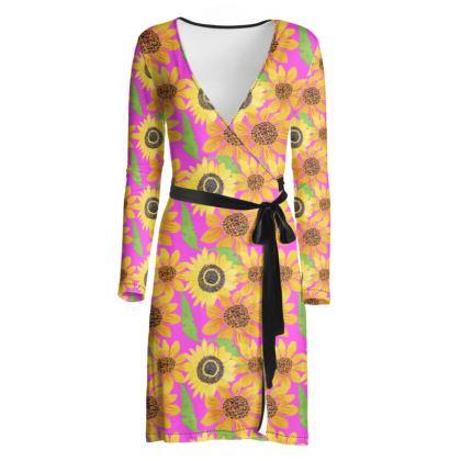 Naive Sunflowers On Fuchsia Wrap Dress