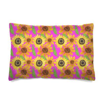 Naive Sunflowers On Fuchsia Pillow Case