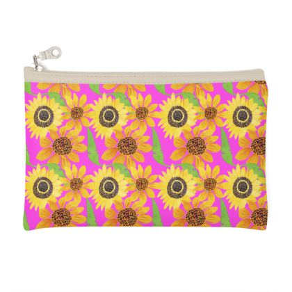 Naive Sunflowers On Fuchsia Zip Top Pouch