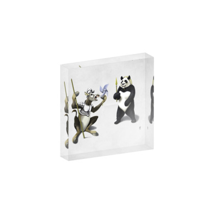 Donkey Xote and Sancho Panda ~ Wordless Animal Behaviour Acrylic Photo Blocks